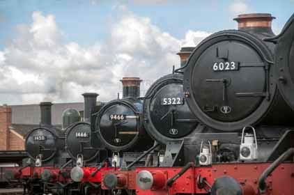 Purchase photo of 1466 0-4-2T,  5322 2-6-0 Tender Locomotive,  6023 KING EDWARD II,  1450 0-4-2T &  9466 0-6-0PT at Didcot